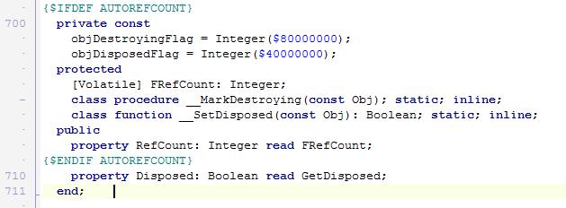 Часть декларации TObject. На скриншоте отображено объявление свойства RefCount, доступного только на мобильных платформах